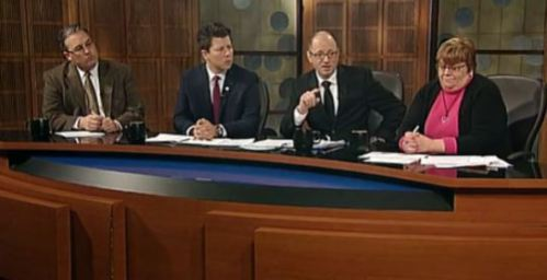 That's me, second from the right, discussing local elections on Politically Speaking, a current events program on the South Bend PBS affiliate, WNIT. Screen grab from the program.