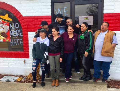 Employees from Beto's Mexican Food in Ogden pose outside the restaurant on Feb. 16, 2017, Day Without Immigrants. By Tim Vandenack